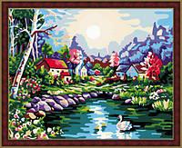 Картина раскраска по номерам на холсте 40*50см Идейка MG107 На озере