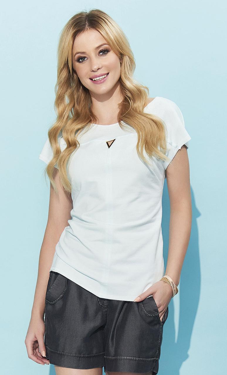 Летняя блузка мятного цвета с коротким рукавом. Модель Orina Zaps, коллекция весна-лето
