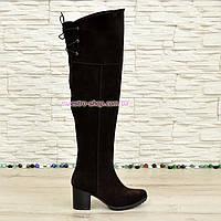 Замшевые коричневые ботфорты на устойчивом каблуке, фото 1
