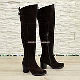 Замшевые коричневые ботфорты на устойчивом  каблуке демисезонные, фото 2