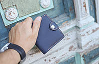 Кожаный кошелек вестерн S, синий винтажный.