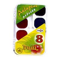 Краски акварельные медовые 8цв. ГАММА Пчелка 212068 пласт/уп б/к