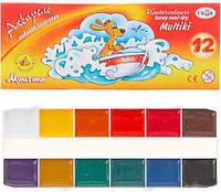 Краски акварельные медовые 12 цв. ГАММА Мультики карт. кор., без кисти 211048