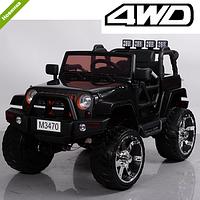 Детский электромобиль джип внедорожник M 3470EBLR-2 черный  Ева колеса и кожа сиденья ***