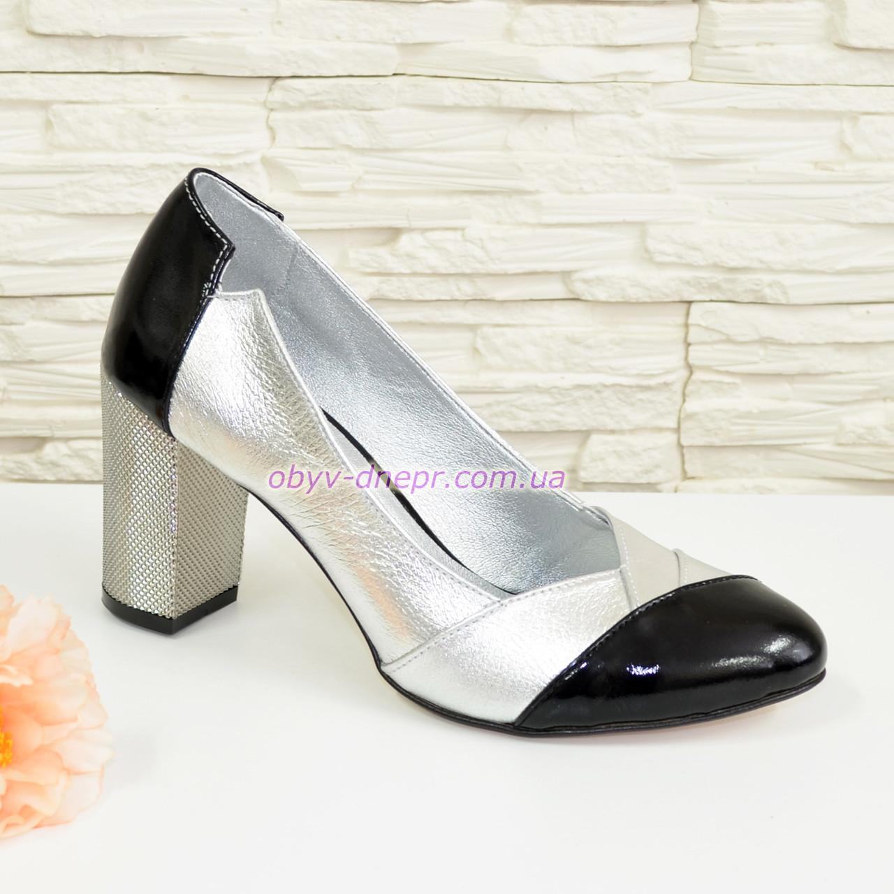 Туфли женские классические на невысоком каблуке, натуральная кожа и лак.
