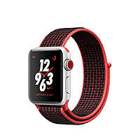 Apple Watch Nike+ GPS+LTE 38mm Silver Aluminum Case with Bright Crimson/Black Nike Sport Loop MQL72 [38mm|Platinum/Bright Crimson/Black Nike Sport
