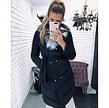 Жіноча зимова куртка з хутряним коміром, фото 2