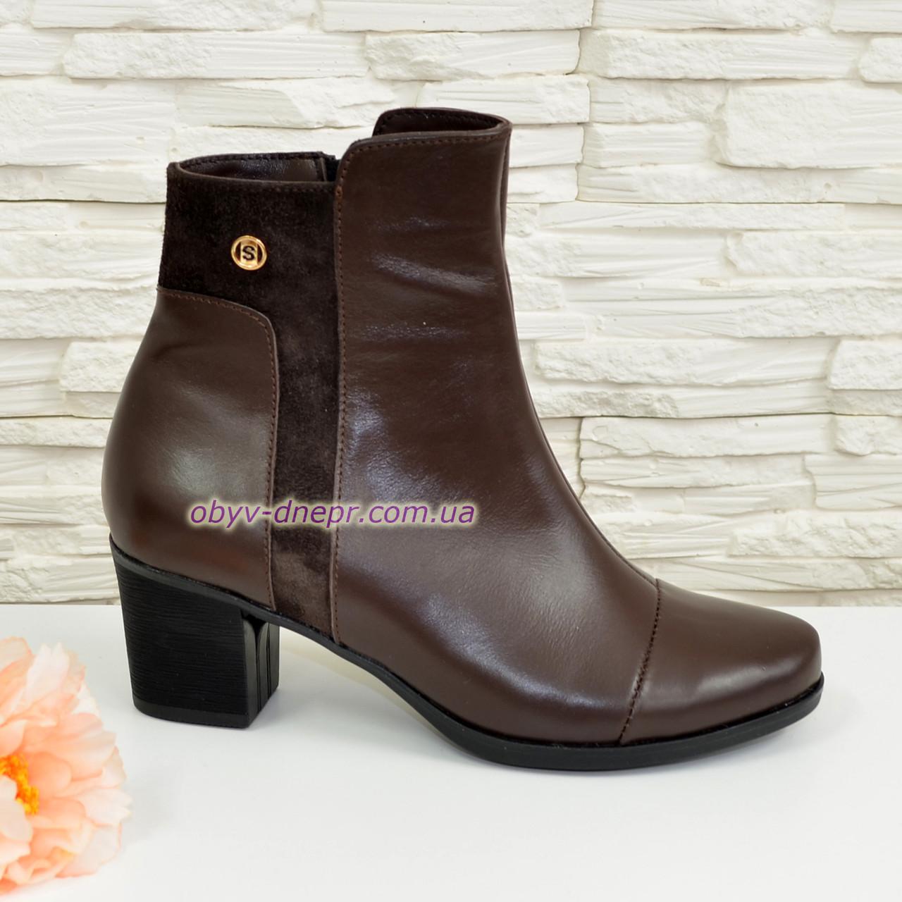 женские кожаные ботинки на невысоком каблуке, цвет коричневый.