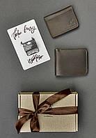 Подарунковий набір коричневий (портмоне, обкладинки для прав, учнівського, студентського) ручна робота, фото 1