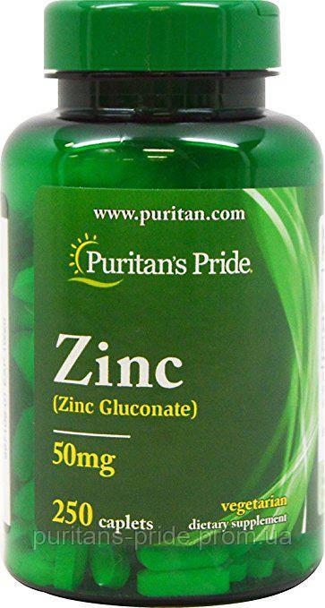 Минерал, Цинк, Puritan's Pride Zinc 50 mg 250 Caplets