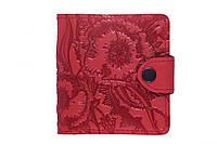 """Кожаный кошелек вестерн S """"Маки"""", красный., фото 1"""