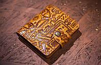 Кожаный кошелек вестерн S, Стимпанк, желтый., фото 1
