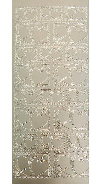 Наклейка скрапбукинг JEJE 10*23см Почтовые марки Сердца Золотая