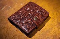 Кожаный кошелек вестерн S, Стимпанк, коричневый.