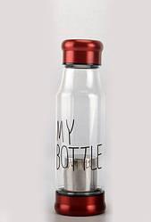 Стеклянная бутылка My Bottle 420 мл с ситечком для заварки красный