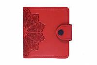 Кожаный кошелек вестерн S, Цветочное солнце,  красный., фото 1