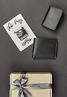 Подарунковий набір чорний (портмоне, обкладинки для прав, учнівського, студентського) ручна робота