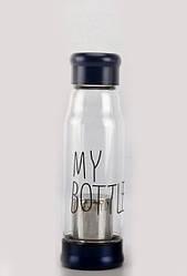 Стеклянная бутылка My Bottle 420 мл с ситечком для заварки темно-синий
