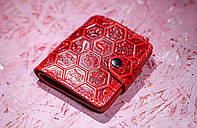 Кожаный кошелек вестерн S, Цветочные соты, красный