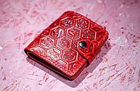 Кожаный кошелек вестерн S, Цветочные соты, красный, фото 1