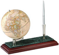 Подставка канцелярская Глобус красное дерево с мрамором+ручка BESTAR 0913WDM