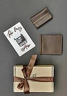Подарунковий набір коричневий (портмоне, кард-кейс) ручна робота