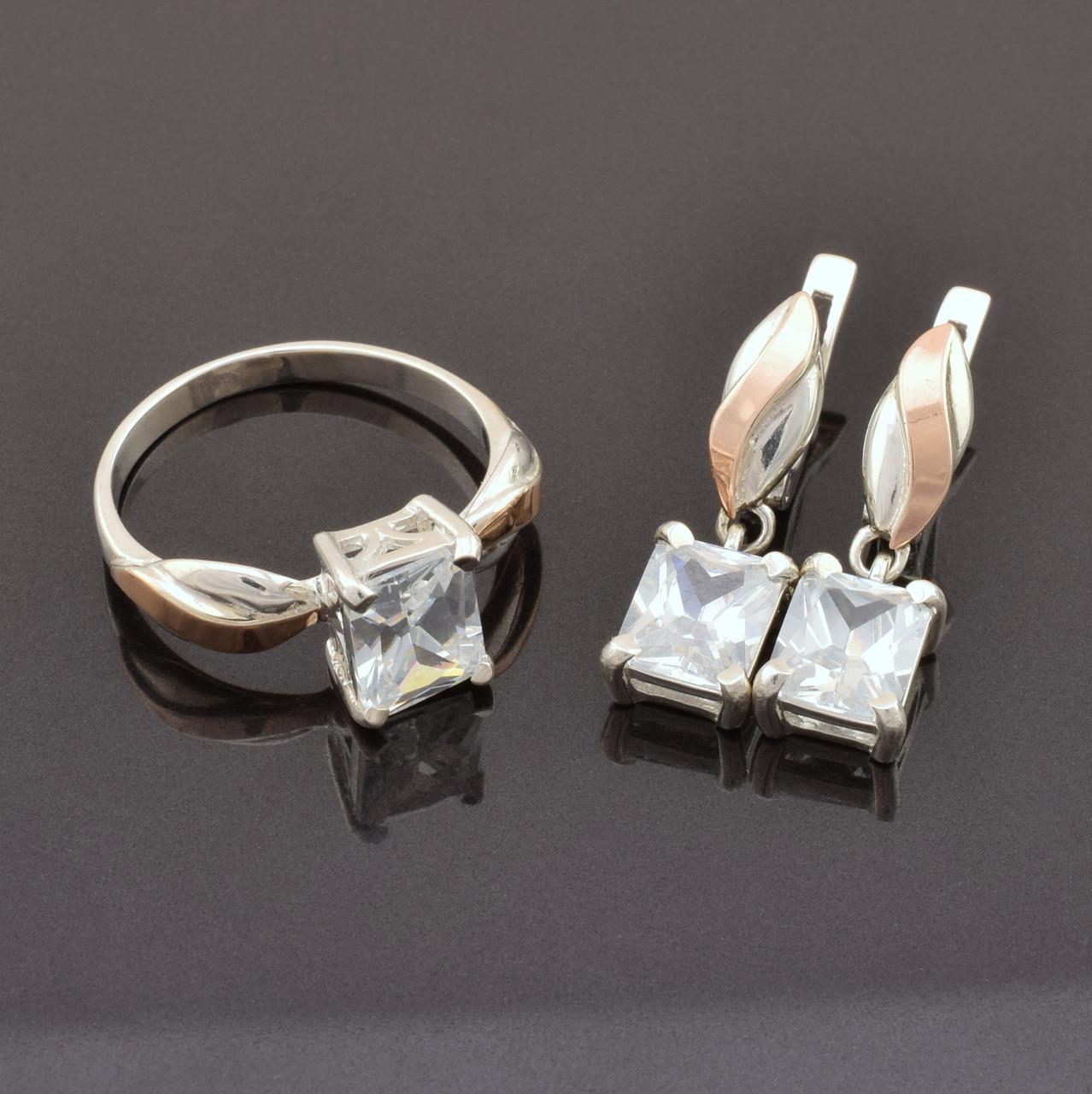 Серебряный набор с золотыми пластинами, кольцо размер 19 + серьги 25*7 мм