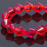 Бусины стекло биконус граненые 4мм, красные  (ок.80 шт) УТ 100006971