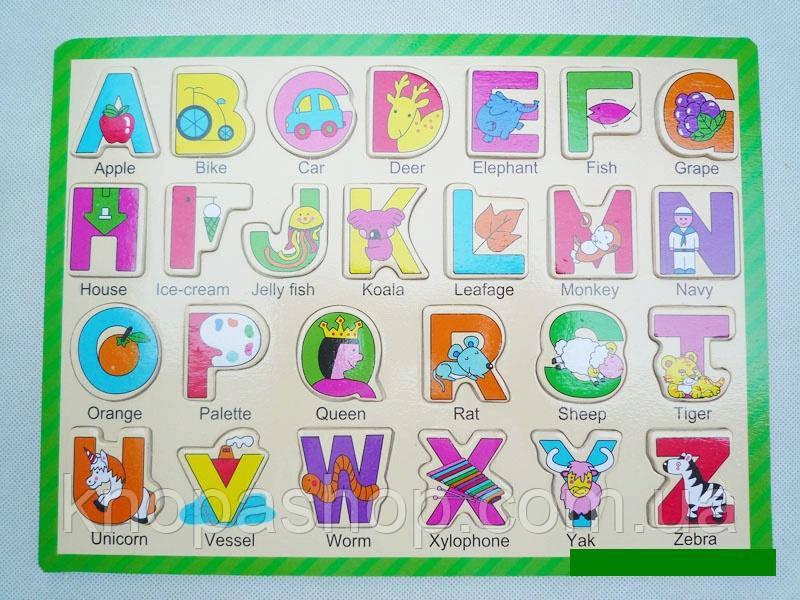 Деревянная рамка  вкладыш английский алфавит. Английские слова.