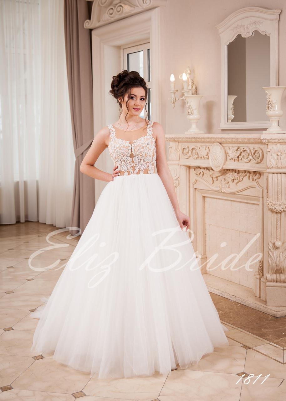 9d64cd2b9b41621 Свадебное платье А-силуэт с кружевным, разшитым шлейфом, цвет айвори - Eliz  Bride
