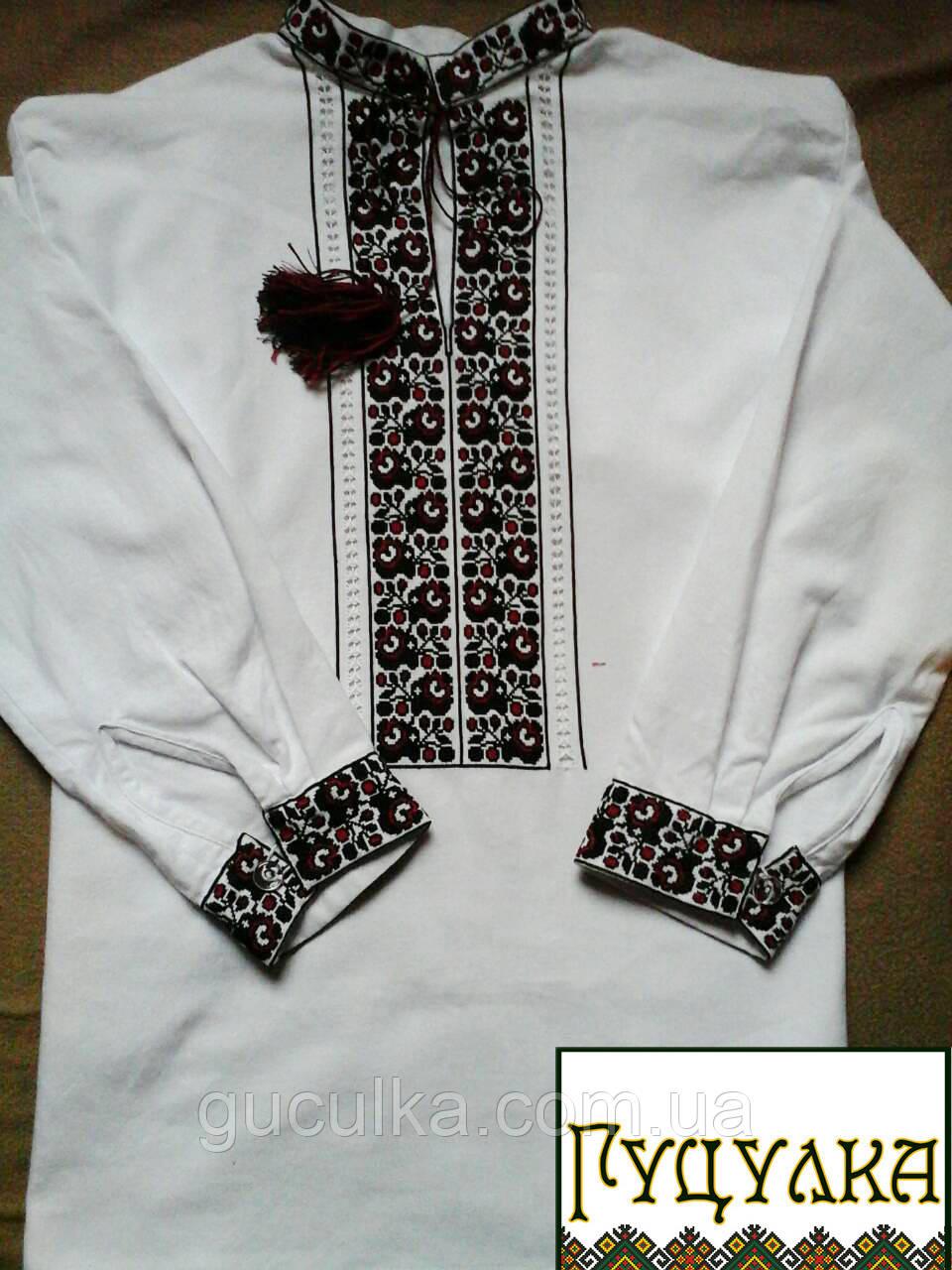 Чоловіча вишиванка біла вишита хрестиком ручної роботи - Інтернет-магазин