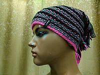 Меланжевая молодежная шапка Shaggy II TM Loman,  полушерстяная, цвет розовый с серым и черным, фото 1