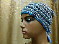 Меланжевая молодежная шапка Shaggy II TM Loman,  полушерстяная, цвет серый с голубым, фото 1