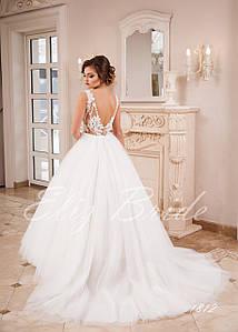 Свадебное платье А-силуэт с прозрачной майкой, цвет айвори