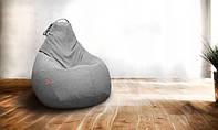 Крісло-мішок груша Мікро-рогожка 85х105 см Сірий З додатковим чохлом