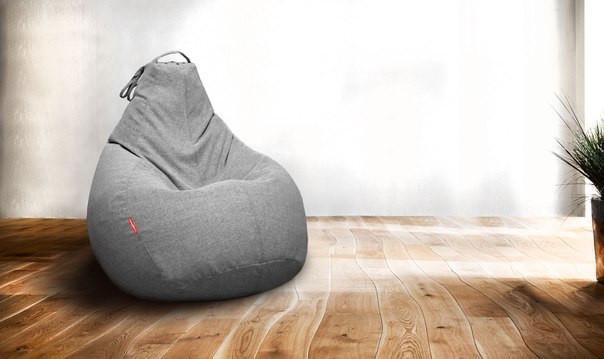 Кресло-мешок груша  Микро-рогожка 90*130 Серый С дополнительным чехлом