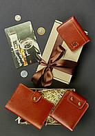 Подарунковий набір коньячний (портмоне, обкладинка на паспорт, кард-кейс, листівка) ручна робота