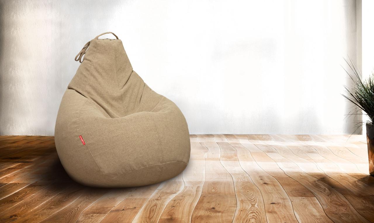 Кресло-мешок груша 85х105 см Микро-рогожка Светло-коричневый С дополнительным чехлом