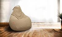 Крісло-мішок груша 85х105 см Мікро-рогожка Світло-коричневий З додатковим чохлом