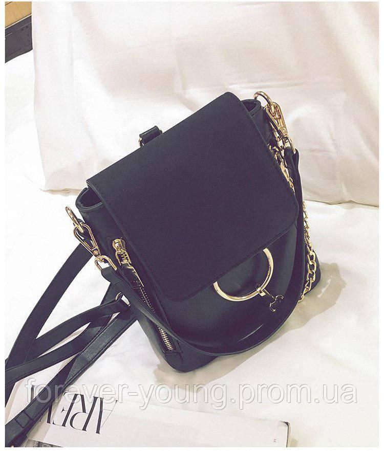 3c93202aaf98 Рюкзак с кольцом кожзам черный - Интернет-магазин