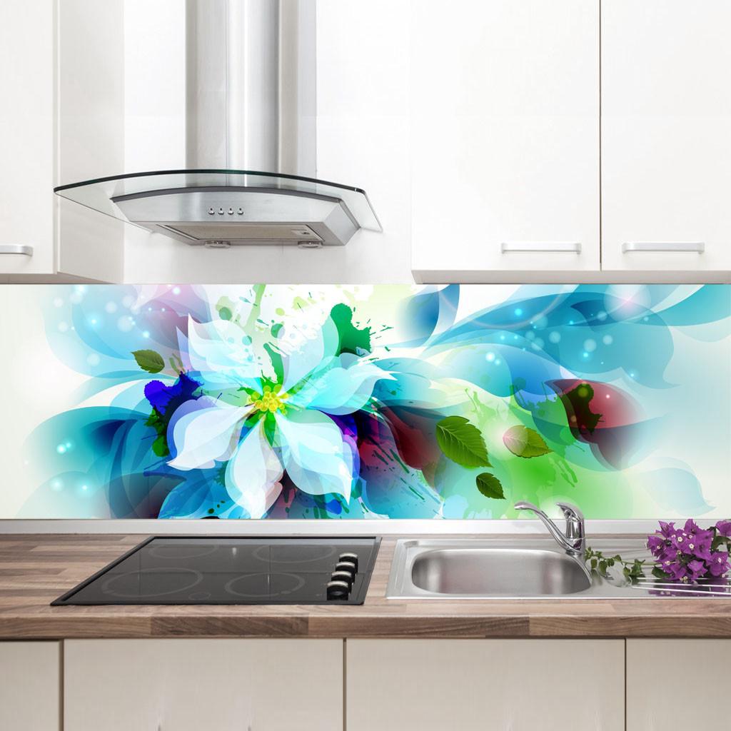 "Фартук на кухню / Скинали ""Голубой цветок"""