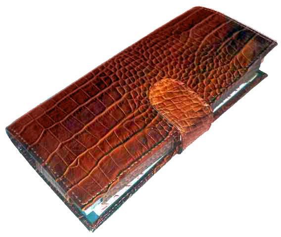 Набор из натуральной кожи с игральными картами Canpellini 552 2 колоды, с блокнотом и ручкой_кроко кориченевый мелкий/крупный 003/012 - Офис-Престиж в Одессе