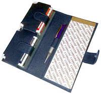 Набор из натуральной кожи с игральными картами Canpellini 552 2 колоды, с блокнотом и ручкой_лазер красный 015