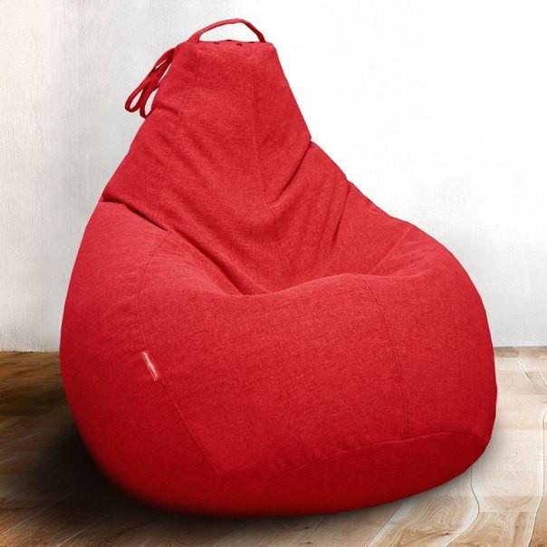 Кресло-мешок груша Микро-рогожка 85х105 см Красное С дополнительным чехлом