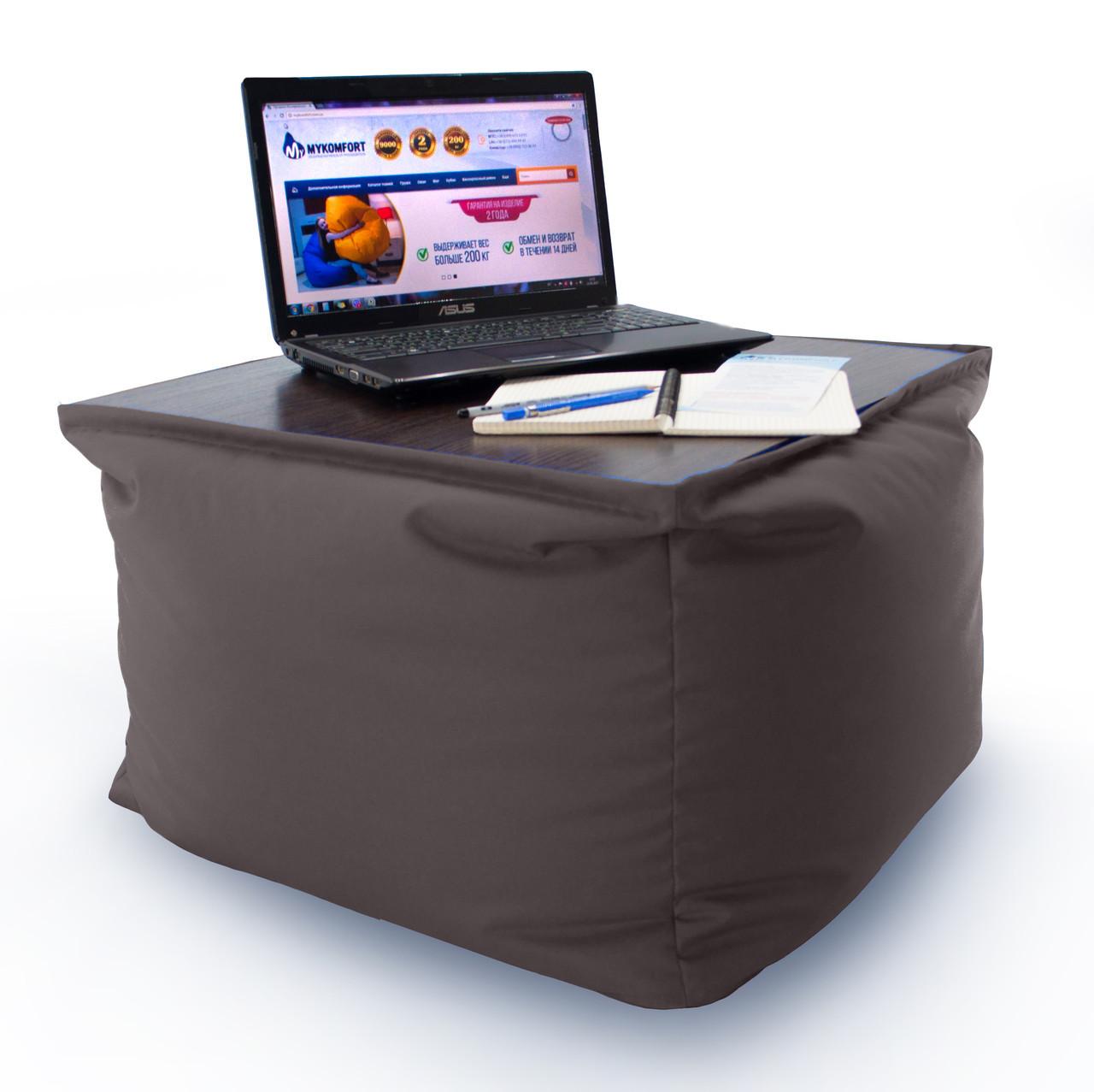 """Кресло мешок, журнальный столик, бескаркасный столик. Эко-кожа """"Зевс"""" 45см"""