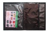 Обложка кожаная для автодокументов Canpel 11111+кошелёк, с кнопкой_лазер черный лаковый 006