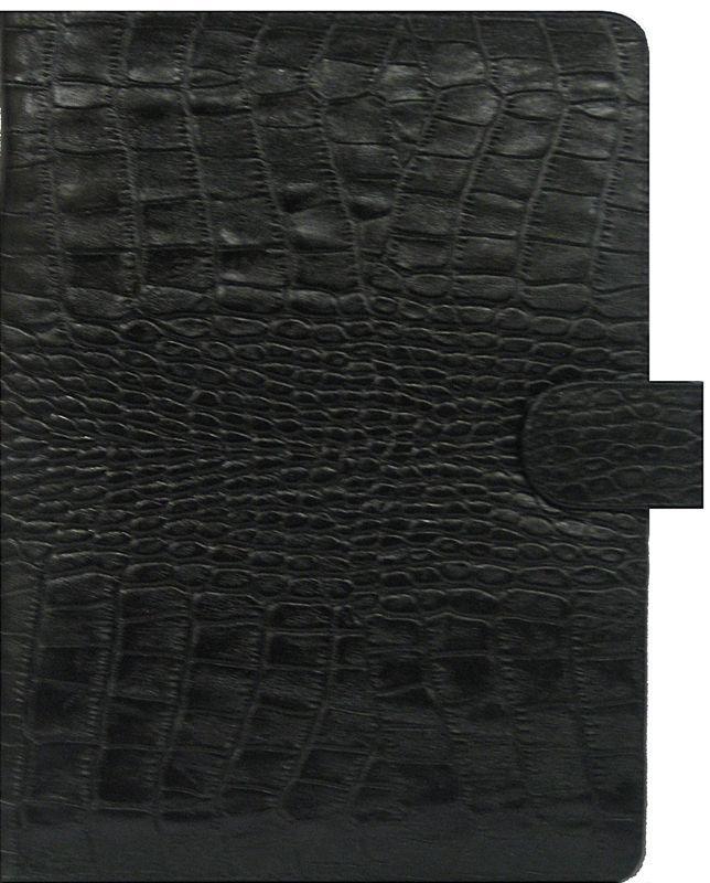 Обложка кожаная для ежедневника А5 Bond_070 кожа кроко крупная черная