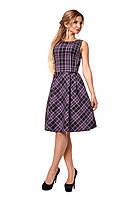 Женское платье в клетку № 1056 (фиолетовое)