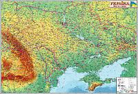 Карта Физическая карта Украины 110*77см Ламинация/Планки М1:1250000