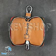 Ключница карманная (кожаная, светло - коричневая, на молнии, с карабином), логотип авто Toyota (Тойота) , фото 3